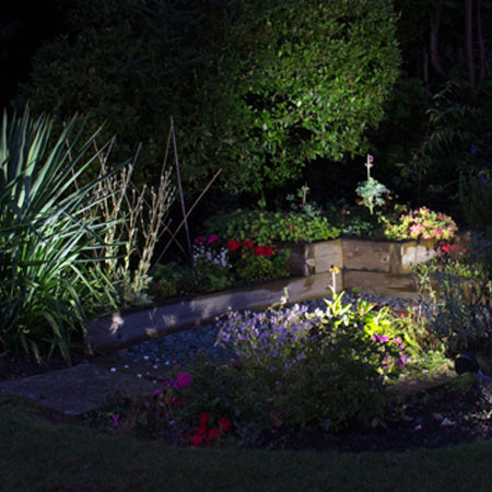 Mature garden solar lighting